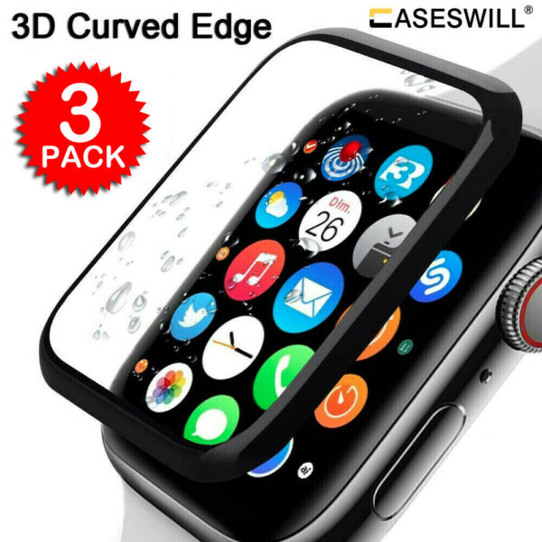 For Apple Watch Series 5 40mm 44mm Caseswill 3D Tempered Glass Screen Protector