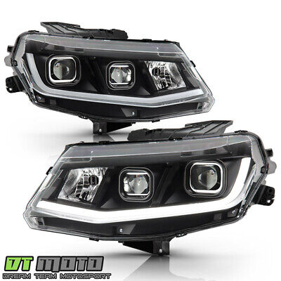[Halogen Model] 2016 2017 2018 Chevy Camaro LED Tube Dual Projector Headlights