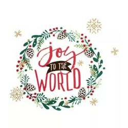 Holiday Lane Wall Decal Joy to the World Christmas Wreath Red Green Peel Stick