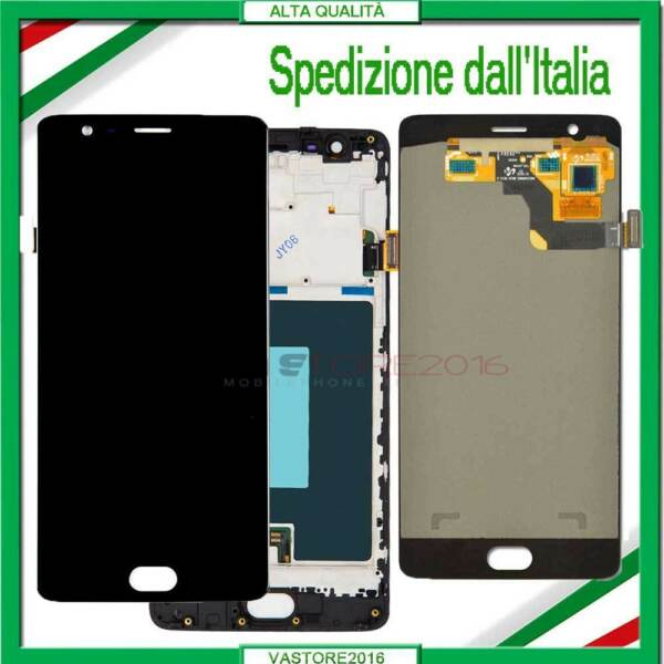 DISPLAY PER ONEPLUS 3 3T A3000 A3003 A3010 LCD VETRO SCHERMO TOUCH SCREEN+FRAME