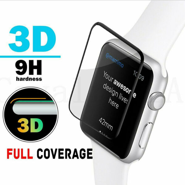FULL COVER Tempered Glass Screen Protector For Apple Watch 38/40/4244mm iWatch