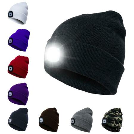 img-LED Sports Running Knitted Beanie Cap Headlamp Head Light Flashlight Torch Hat