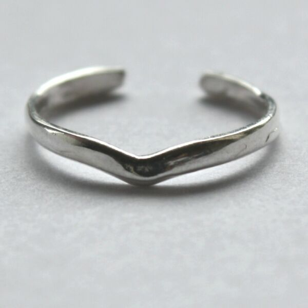 Silver Toe Ring V Wishbone open Stackable optional Black Gift Box 925 Sterling