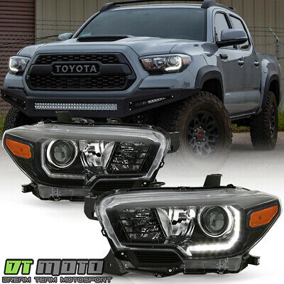 For 2016-2019 Toyota Tacoma TRD w/ LED DRL Black Projector Headlights Headlamps