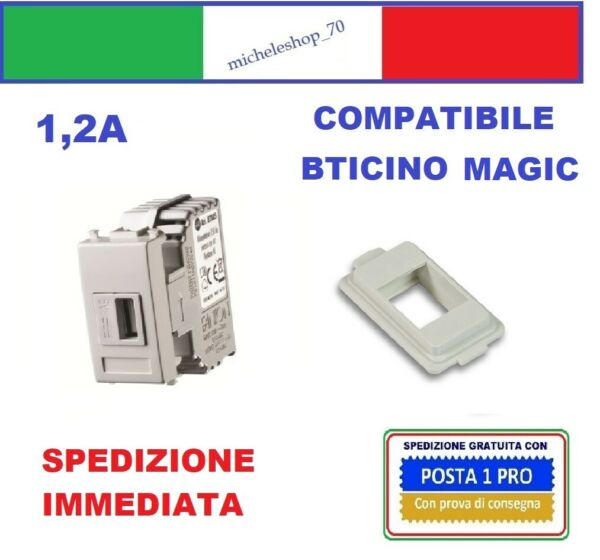 Alimentatore compatibile Bticino Magic USB 5V 1,2A bianco