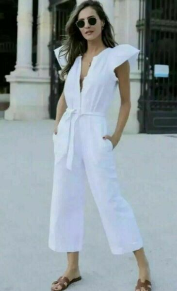 New With Tags Zara White Rustic Jumpsuit Ruffled Sleeves Bloggers Fav XS