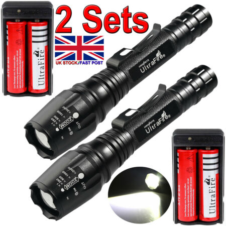 img-120000LM Zoomable Tactical T6 LED Rechargeable Torch Flashlight Lamp Charger UK