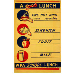 Good School Lunch WPA Wall Decal 8 x 12 Kitchen Removable Decor