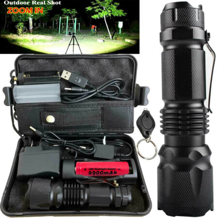 img-250000LM T6 LED Flashlight Torch Zoomable Tactical Military Work Light Headlamp