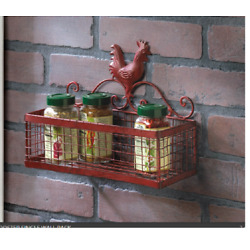 shabby red metal basket wall shelf ROOSTER spice rack country kitchen organizer
