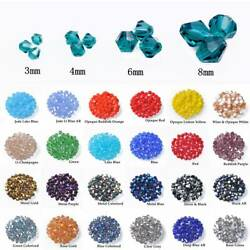 3mm 4mm 6mm 8mm Bicone Faceted Crystal Glass Loose Crafts Beads Jewelry Making