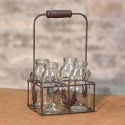 Primitive Country Style - 4 Small Bottles with Wire Rooster Carrier