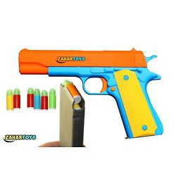 ZAHAR Toys Colt 1911 Kids Play Toy Gun with Ejecting Magazine and Foam Bullets
