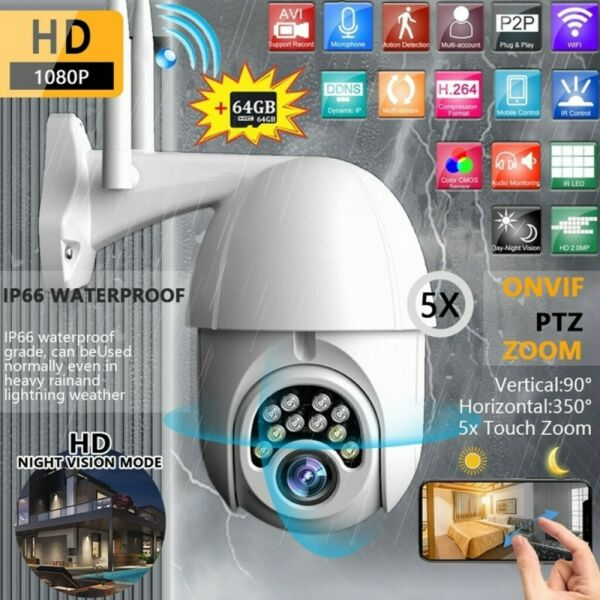 FUll HD 1080P CAM TELE CAMERA FULL COLOR ESTERNA MOTORIZZATA IR WIFI PTZ ZOOM IP