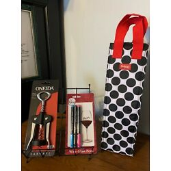 ONEIDA Wing CORKSCREW~THIRTY-ONE Insulated WINE TOTE~Non-Toxic 3 WINE GLASS PENS