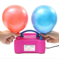 Kyпить Pink Portable Double Electric Balloon Air Pump Inflator 110V Blower Party US New на еВаy.соm