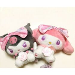 My Melody Kuromi Romantic Rose Plush Doll Set Of 2 SANRIO Official Gift