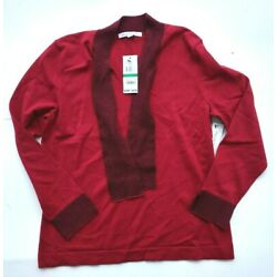 Mercer Street Studio womens red knit v-neck sweater with fabric tie size PL New