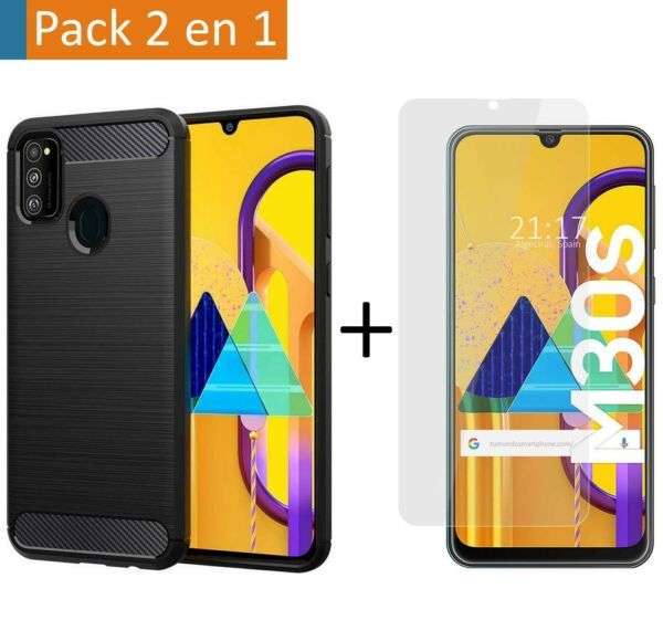EspagnePack Cover Carbon+ Glass Tempered for Samsung Galaxy M30s/M21