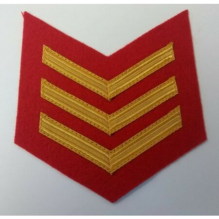 img-Genuine Military Mess Dress Issue Gold 3 Bar Sergeants Chevrons Scarlet ASPS234