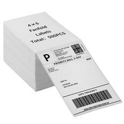 500 4''x6'' Fanfold Direct Thermal Shipping Labels for Zebra and Rollo Printers