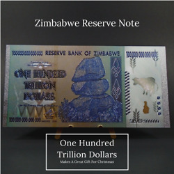 Kyпить Zimbabwe 100 Hundred Trillion Dollars Beautiful Souvenir Silver & Gold Banknote на еВаy.соm