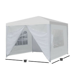 Canopy Party 10''x10'' Outdoor Wedding Tent Gazebo with 4 Side Walls Heavy Duty