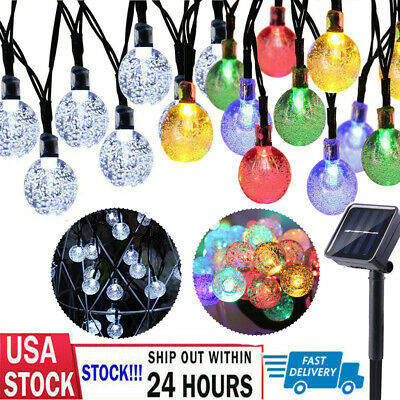 31 ft 50 LED Solar String Ball Lights Outdoor Garden Yard Decor Lamp Waterproof