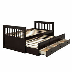 Kyпить Wood Bed with Trundle and Drawers Kids' Storage Beds Twin Size Multiple Colors на еВаy.соm