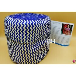 Handwoven Palm Leaf Basket With Lid Blue Zig Zag Design Pattern Made in Mexico