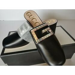 New Authentic Gucci Madelyn Crystal G Leather Mule Sandals Pump Eur 40/ US 10