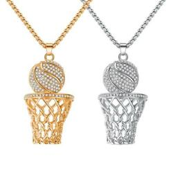 Kyпить Necklace Ice Gold Basketball And Hoop Necklace Gold Silver Steel Chain Pendant L на еВаy.соm