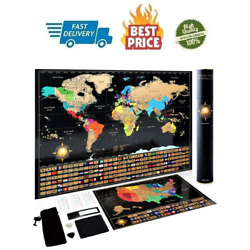 Kyпить Scratch Off World Map Poster + Deluxe United States Map –Includes Complete на еВаy.соm