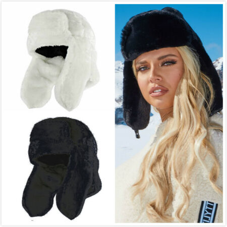 img-Womens Faux fur Trapper Hat Black Fluffy Cossack Holiday Hat Ski Cap Winter Gift