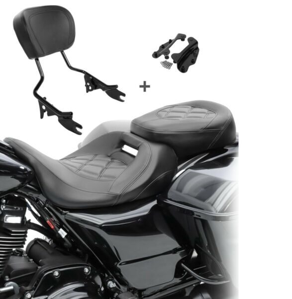 AllemagneSella Set per Harley Road Glide Special 15-19 + Sissybar + kit montaggio S-AB1