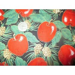 Kyпить CHRISTMAS Vintage GOLD EDGED RED APPLES On BLACK 1990's COTTON Fabric - 2 yd  на еВаy.соm