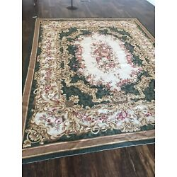 Kyпить 8 By 10 French Aubusson Needlepoint oriental area rug  wool  Green Beige Floral на еВаy.соm