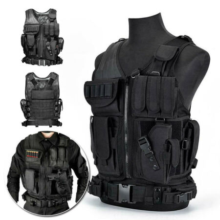 img-UNISEX TACTICAL VEST ADJUSTABLE MILITARY AIRSOFT MOLLE COMBAT ARMY PLATE CARRIER