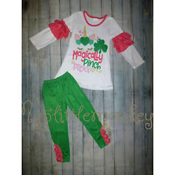 Kyпить NEW Boutique St Patricks Day Unicorn Ruffle Sleeve Shirt Leggings Girls Outfit на еВаy.соm