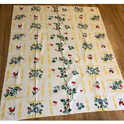 Kyпить Vintage '40s Tablecloth Cherries and Leaves  Cotton  66