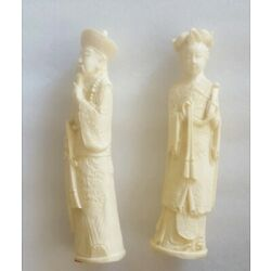 Kyпить Vintage Hand Carved Resin Chinese Emperor & Empress Sculpture Figures на еВаy.соm