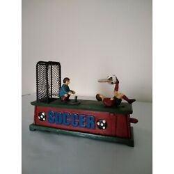 Kyпить Vintage Cast Iron Working Mechanical Soccer Payers Coin Bank на еВаy.соm