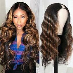 UNice Ombre Highlight U Part Wig Human Hair Body Wave for Black Women Middle ...
