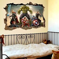 3D effect the avengers wall stickers for kids rooms, cartoon movie wall deco