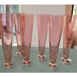 Kyпить Six Large Vintage Iridescent Pink w/ Etched Polka Dots Pilsner Glasses Italy на еВаy.соm