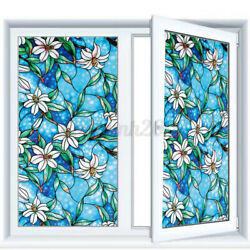 3D Privacy Window Film Frosted Static Cling Stained Glass Door Sticker Decor