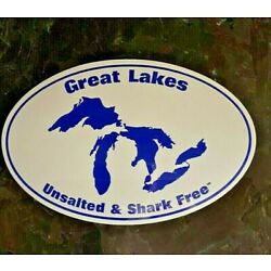Great Lakes Unsalted and Shark Free Oval Sticker