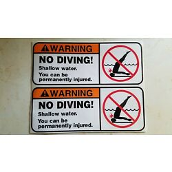Kyпить No Diving Shallow Water Sticker Set of 2 SIZE is 8 7/8