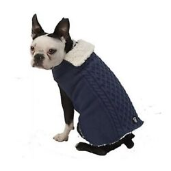 L Petrageous Dog Sweater Coat Jacket Sherpa Lining cable Knit Blue NWT Large