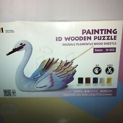 Wide Range Intelligence Painting 3D Wooden Puzzle Swan M-002